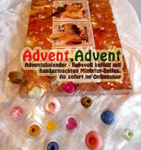 Individueller Adventskalender mit Miniatur Gäste-Seifchen. Wunderbar duftend und hautpflegend.